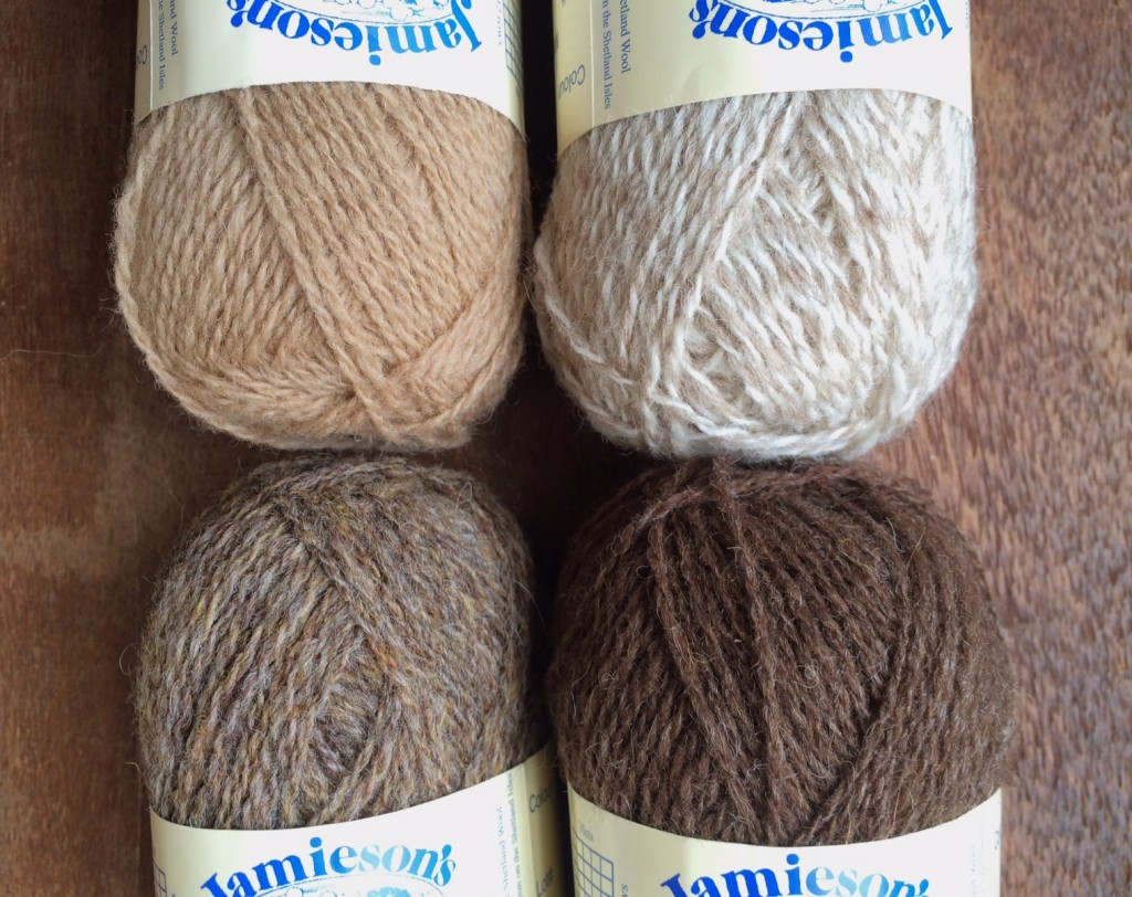 (CW from Top Left) Oatmeal, Mooskit:White, Moorit, Wren.