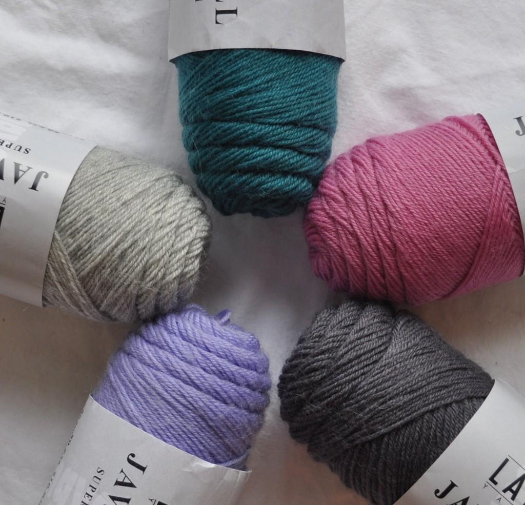 Lang Jawoll Sock Yarn (CW from Top) 188 Peacock, 119 Pansy, 86 Elephant Grey, 246 Wisteria, 23 Light Grey. Loop, London. www.loopknitlounge.com