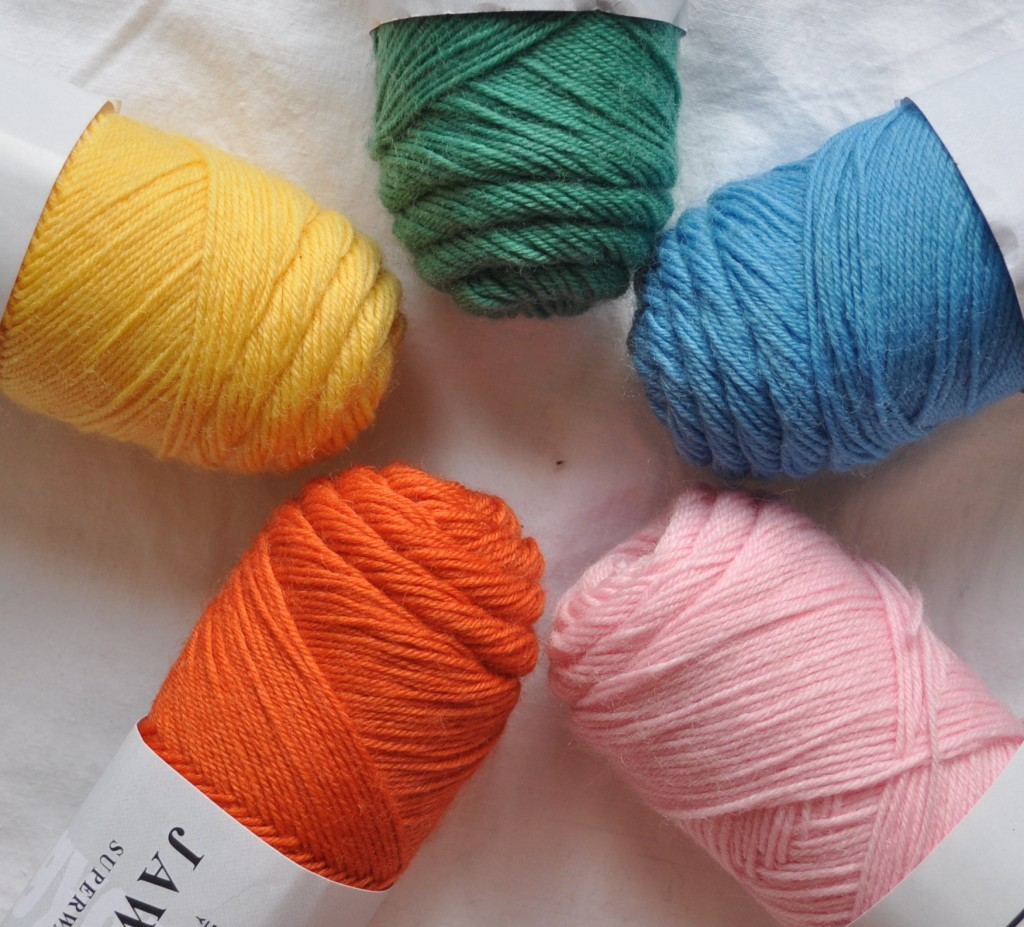 Lang Jawoll Sock Yarn (CW from Top) 274 Leaf Green, 110 Swimming Pool, 109 Ballet Pink, 159 Toucan, 043 Butter