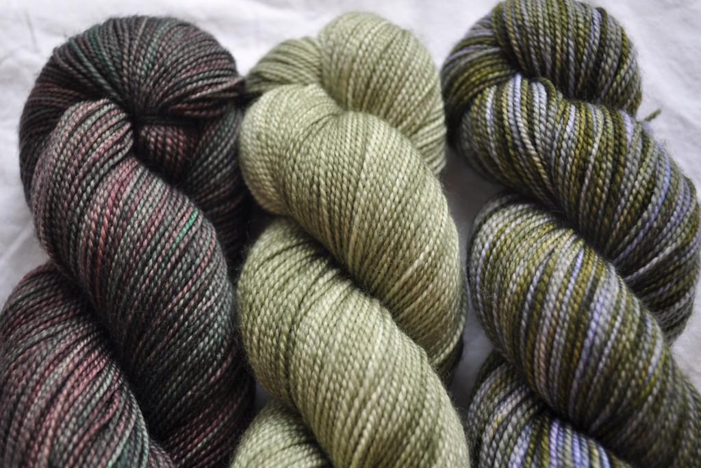 Madelinetosh Sock (L-R) Cosmos, Thyme, Lichen
