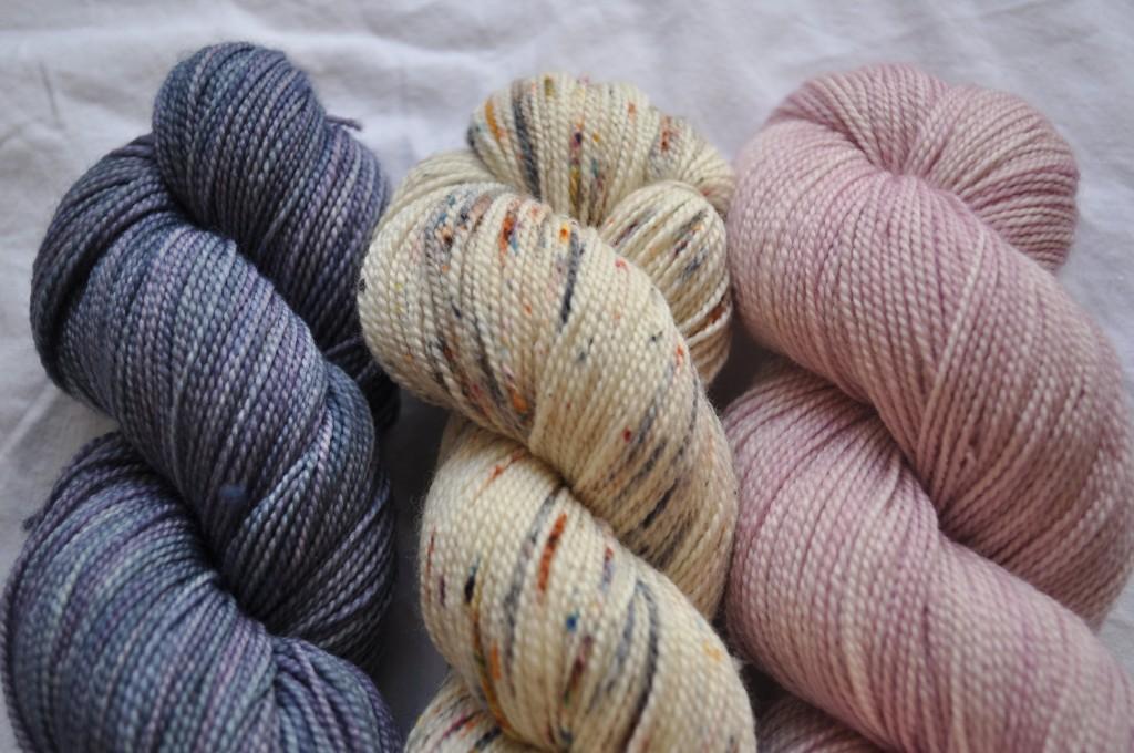 Madelinetosh Sock (L-R) Logwood, Modern Fair Isle, Rose