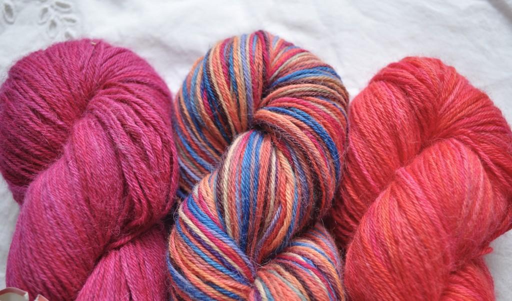 Misti Sock Yarn - (L-R) TF02 Cerise, H60 FIg Pretty, TF51 Zinnia