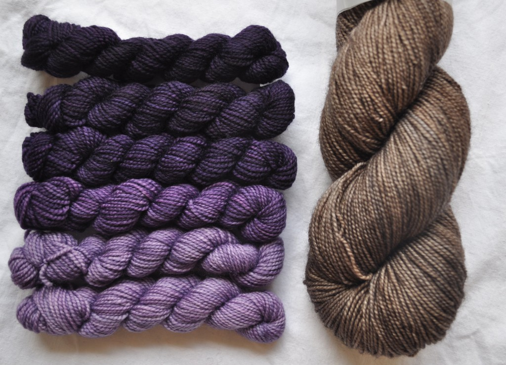 Pigeon Roof Mini Skeins in Crown Prince and Uncommon Thread Tough Sock in Attic Room