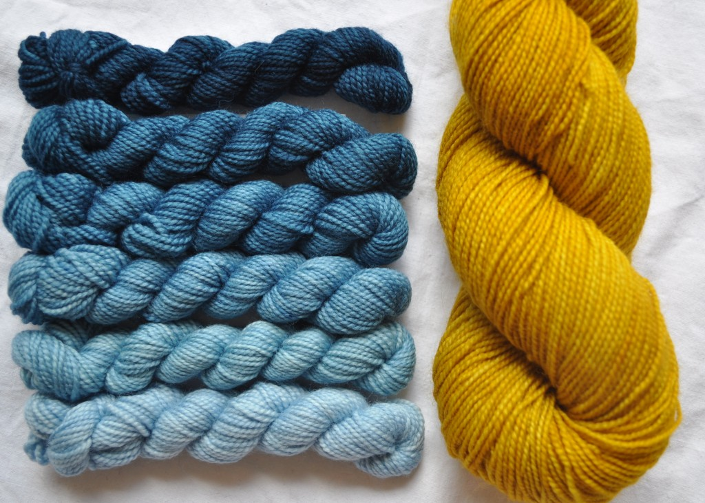 Pigeon Roof Mini Skeins in Denim and Uncommon Thread Tough Sock in Brassica.
