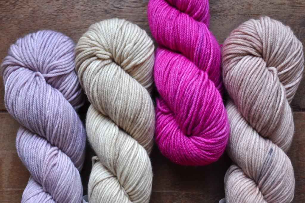 The Uncommon Thread Lush Worsted (L-R) Into Dust, Manuscript, Les Fleurs, Tea Smoked. Loop, London