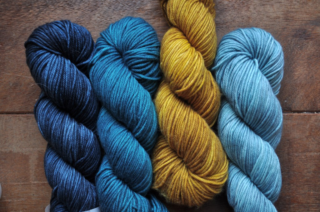 The Uncommon Thread Lush Worsted (L-R) Orion, Seascape, Golden Praline, Robins Egg. Loop, London. www.loopknitlounge.com