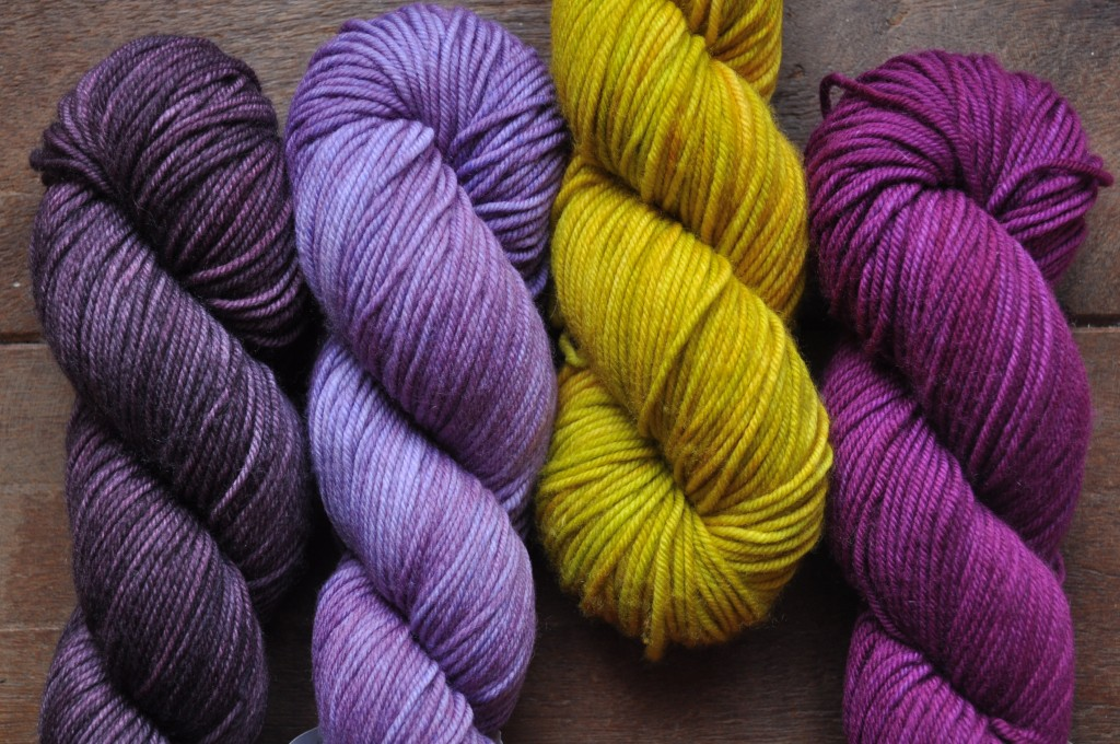 The Uncommon Thread Lush Worsted (L-R) Ripe Plum, Lila, Capsicum, Tourmaline. Loop, London