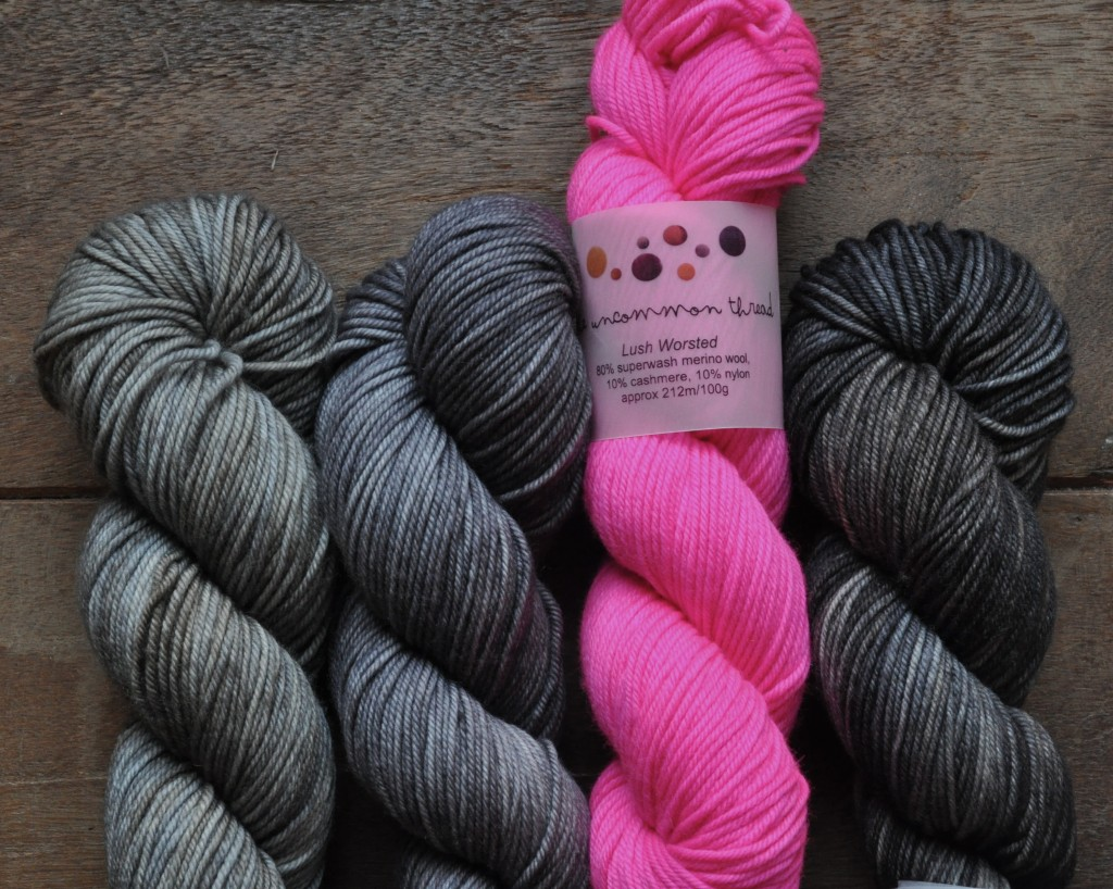 The Uncommon Thread Lush Worsted (L-R) Toast, Baby Elephant Walk, High Vis Pink, Peat. Loop, London. www.loopknitlounge.com