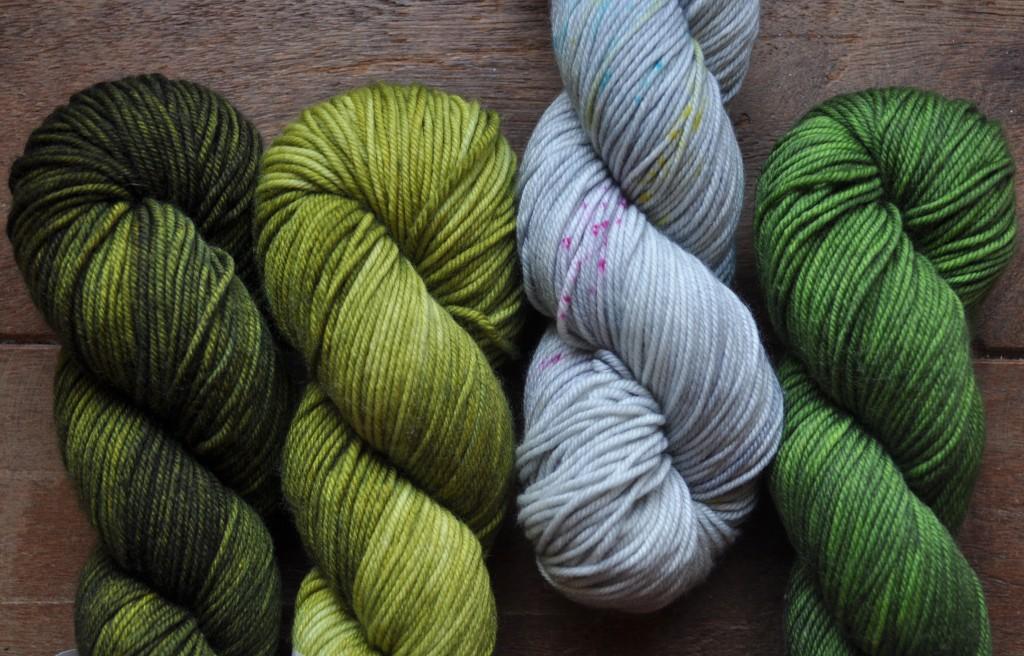 The Uncommon Thread Lush Worsted (L-R) Zitouni, Envy, Confetti, Botany.
