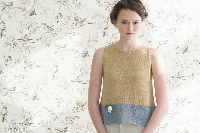 Forsythia by Pam Allen for Quince & Co. Sparrow in 'Butternut' and 'Birch'.