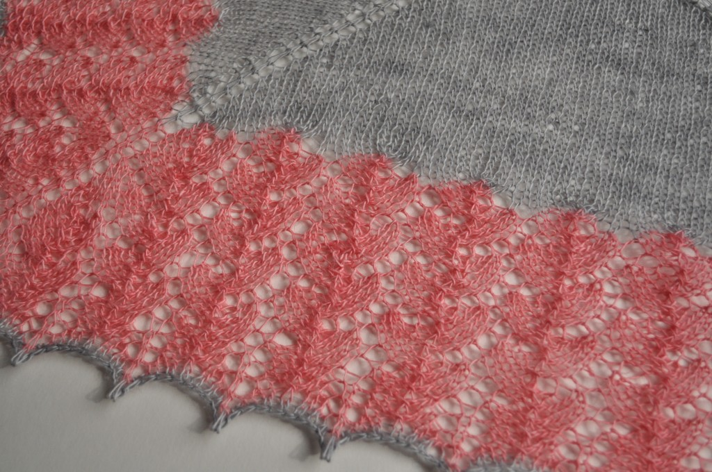 Ishbel by Ysolda Teague, in Cowgirlblues Lace, colours- Silver Fox and Blossom.