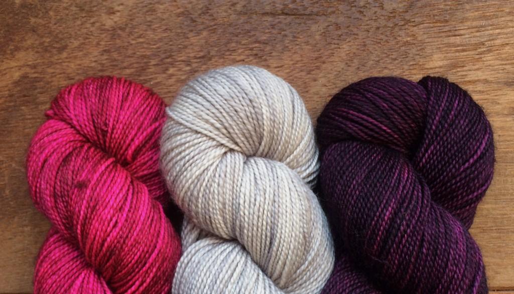 Madelineosh Sock (L-R) Coquette, Smoke Stack, Purple Basil