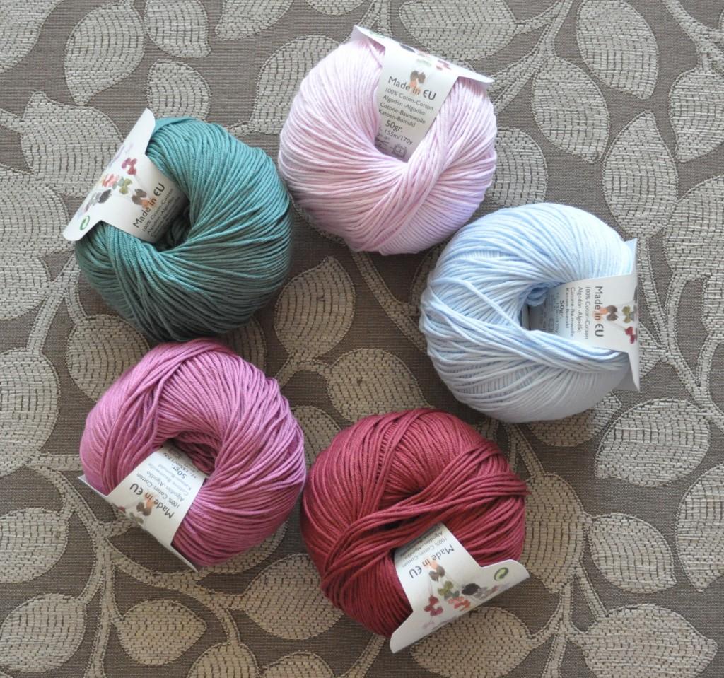DMC Natura 4 Ply Cotton. CW from Top -32 Rose Soraya, 05 Blue Layette, 34 Burgundy,33 Amaranto, 54 Green Smoke.