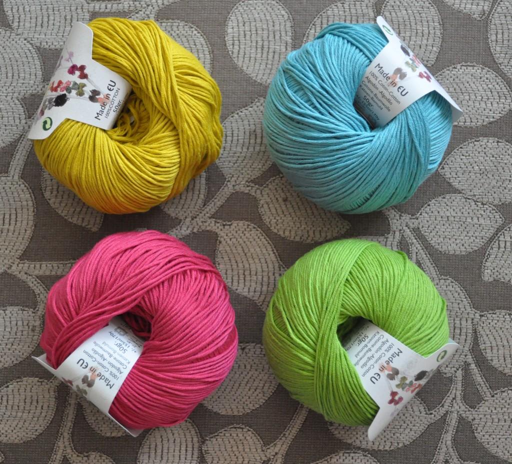 DMC Natura 4 Ply Cotton. Cw from Top Left - 75 Moss Green, 49 Turquoise, 13 Pistachio, 61 Crimson.