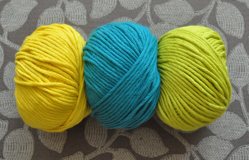 DMC Natura XL Just Cotton. L-R 09 Daffodil, 81 Turquoise, 83 Lime