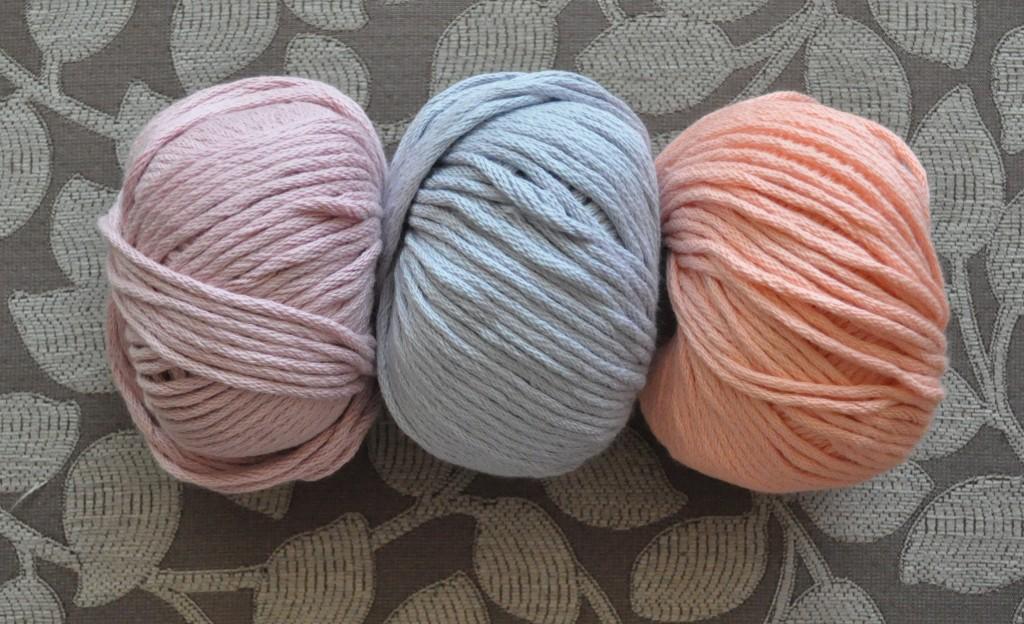 DMC Natura XL Just Cotton. L-R -41 Dusky Rose,12 Lilac, 04 Pink.