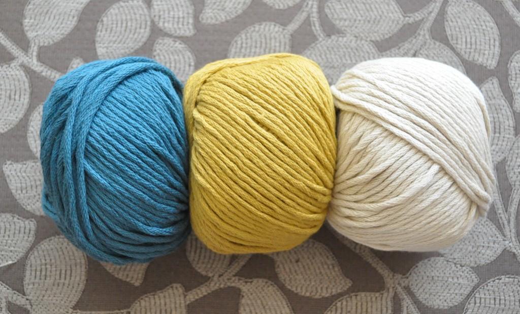 DMC Natura XL Just Cotton. L-R 71 Petrol, 92 Mustard, 31 Taupe