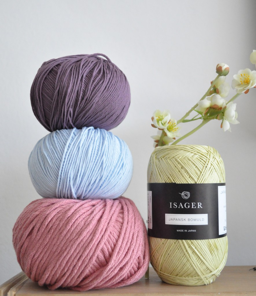 Loop, London. Tower from top - DMC Natura 4ply 45 Orquidea, 05 Blue Layette and DMC Natura XL in 42 Old Rose. Isager Japansk Cotton in 40. www.loopknitting.com