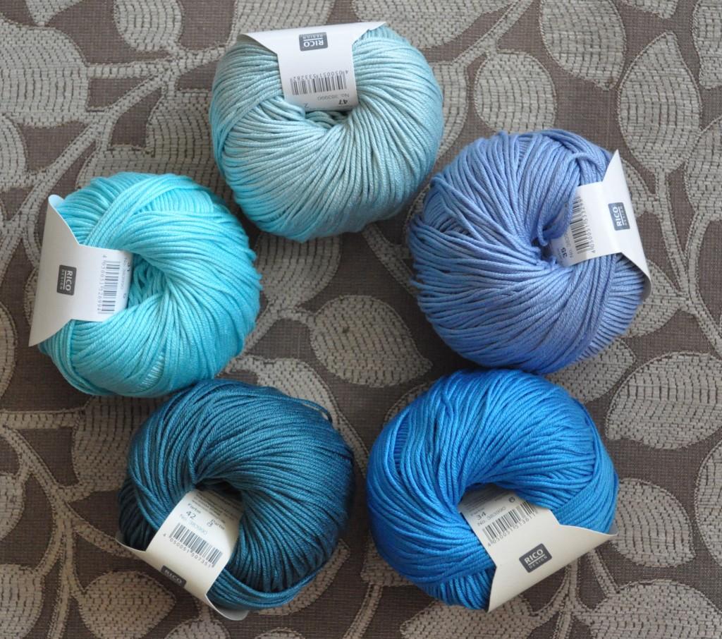 Rico - Cotton DK - CW From Top - 47 Jade, 35 Pigeon Blue, 34 Medium Blue, 042 Blue Green, 031 Aquamarine