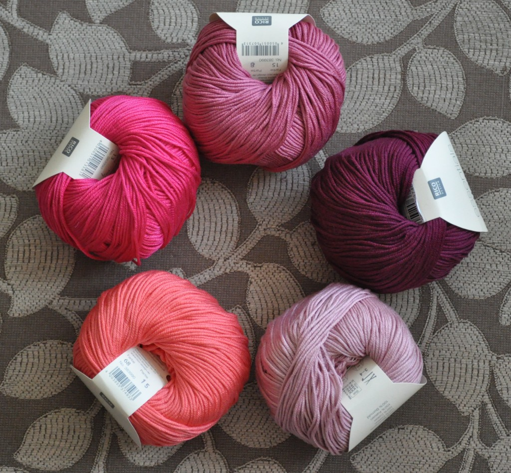 Rico - Cotton DK. CW from Top- 015 Berry,000 Burgundy, 019 Dusky Rose, 068 Flamingo Pink, 13 Magenta