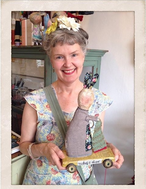 Julie Arkell with one of her creatures 'Making a Shape'