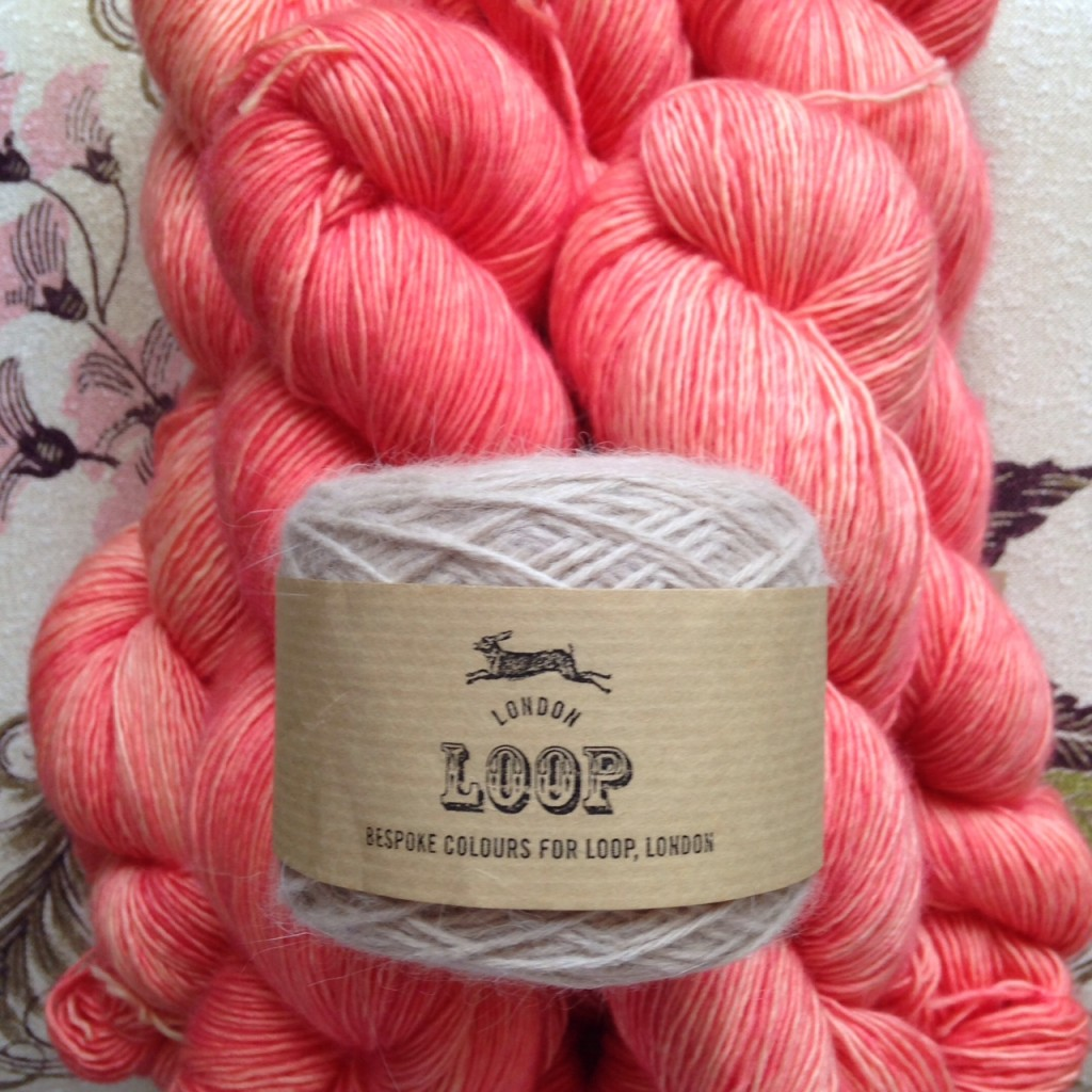 Madelinetosh Merino Light 'London Cosmopolitan' and Orkney Angora in 'Ghost'. Loop, London