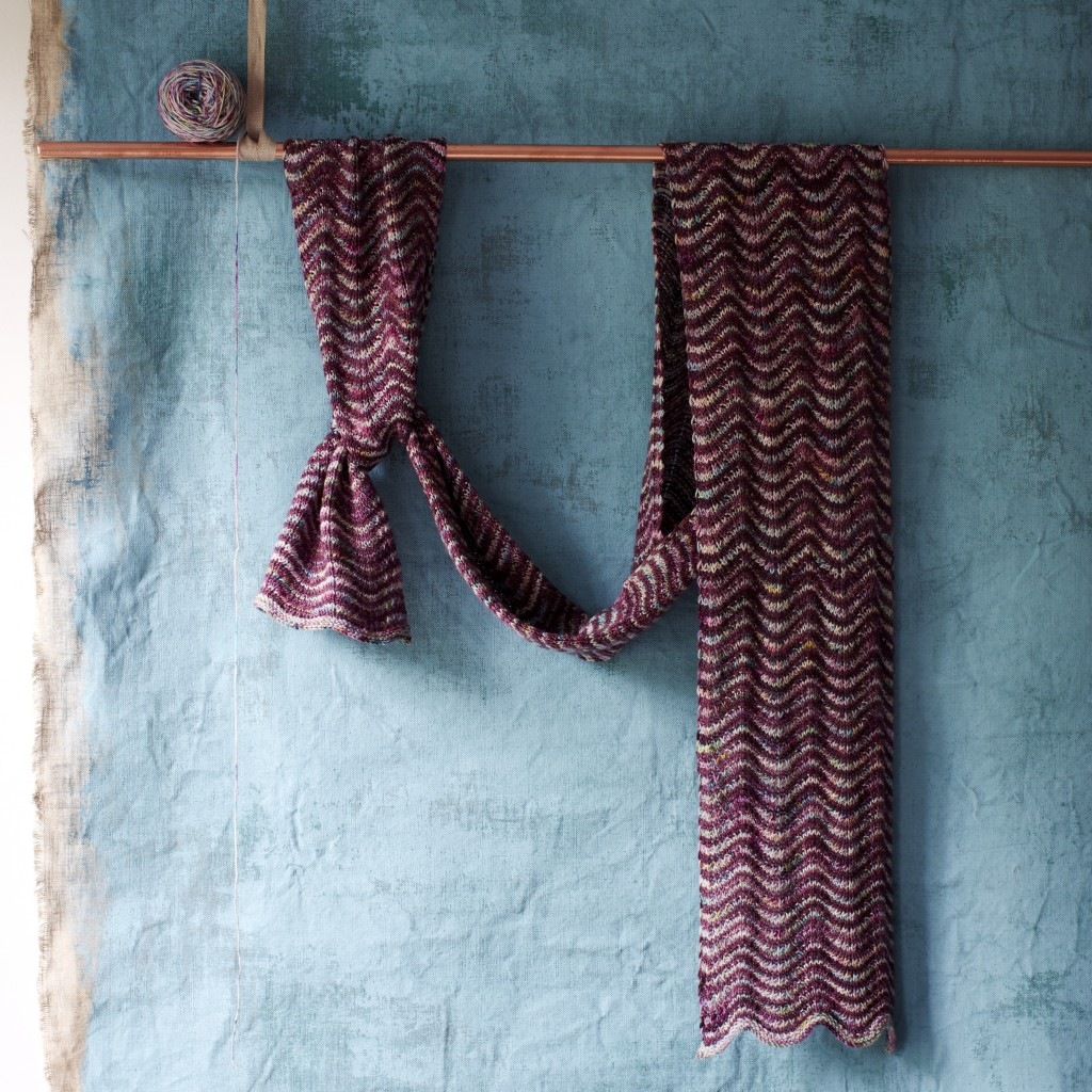Ripple Scarf Knit using Koigu KPPPM 'Loopettes' P756 - bespoke for Loop and 2504.
