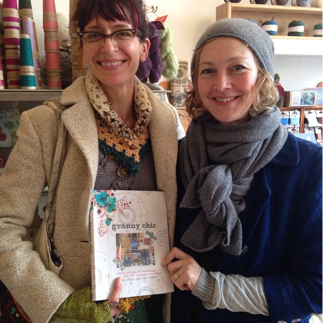 Tif with Emily of Caravan Style at Loop, posing with  the book 'Granny Chic'