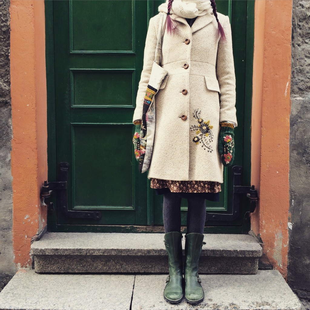 Tif in Estonia with Wooly Tattoo Coat. Photo courtesy of Tif Fussell.