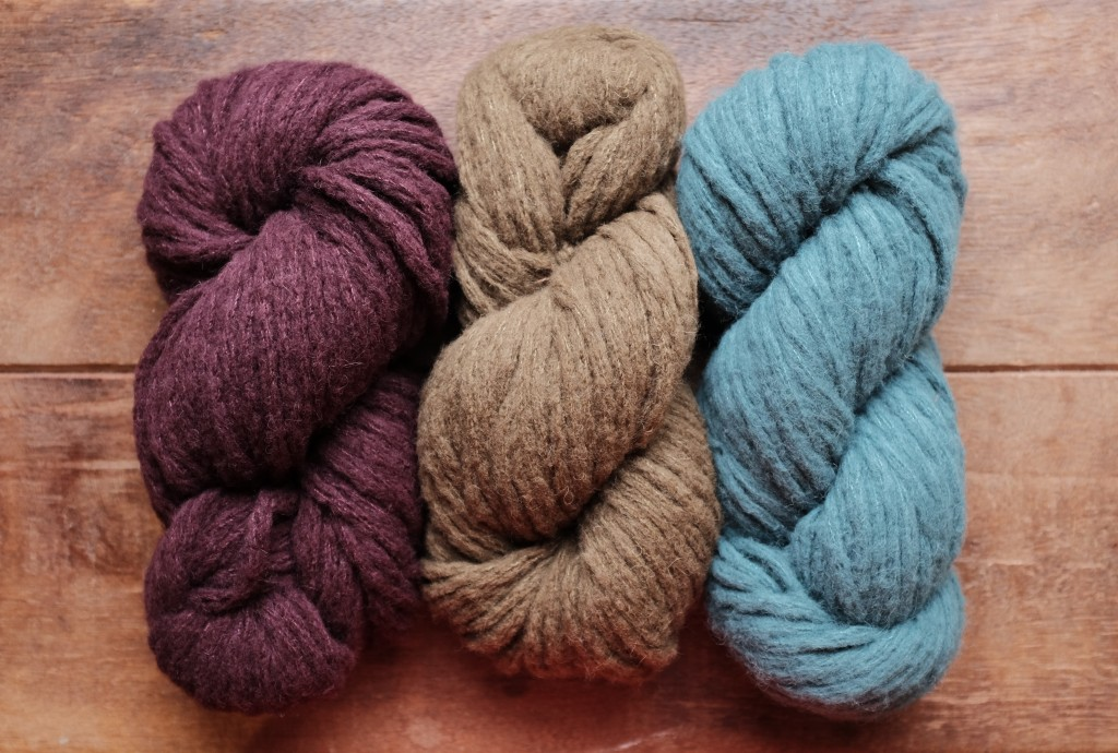 Woolfolk Hygge (L-R) 12 Burgundy, 08 Darkest Bronze, 13 Dirty Sea Foam.