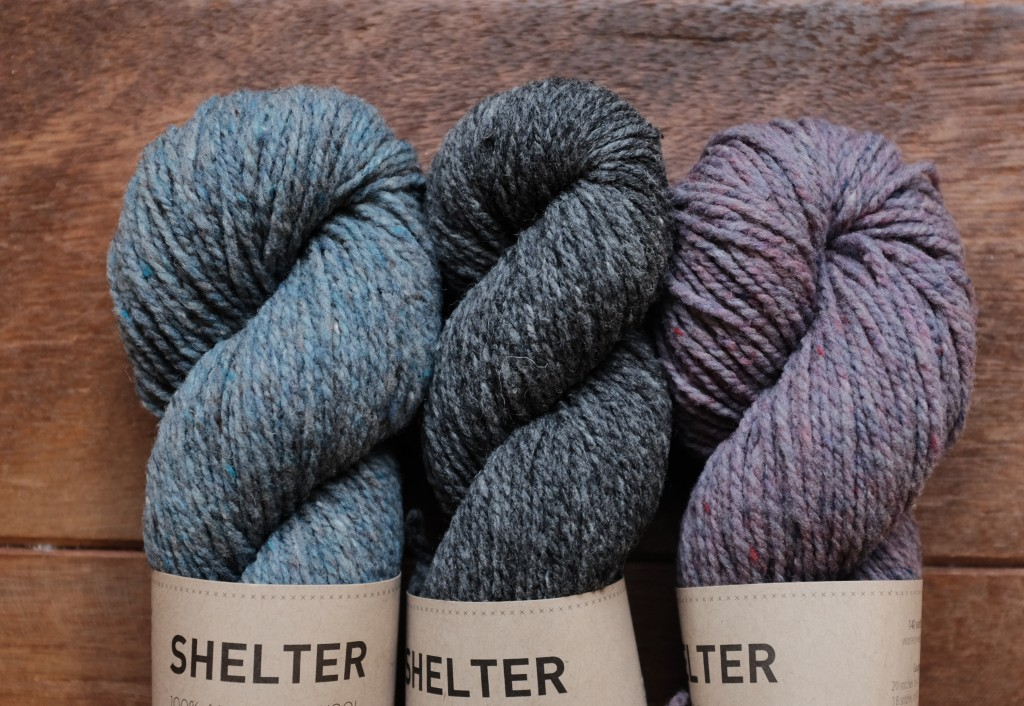 Brooklyn Tweed Shelter (L-R) Faded Quilt, Soot, Blanket Fort