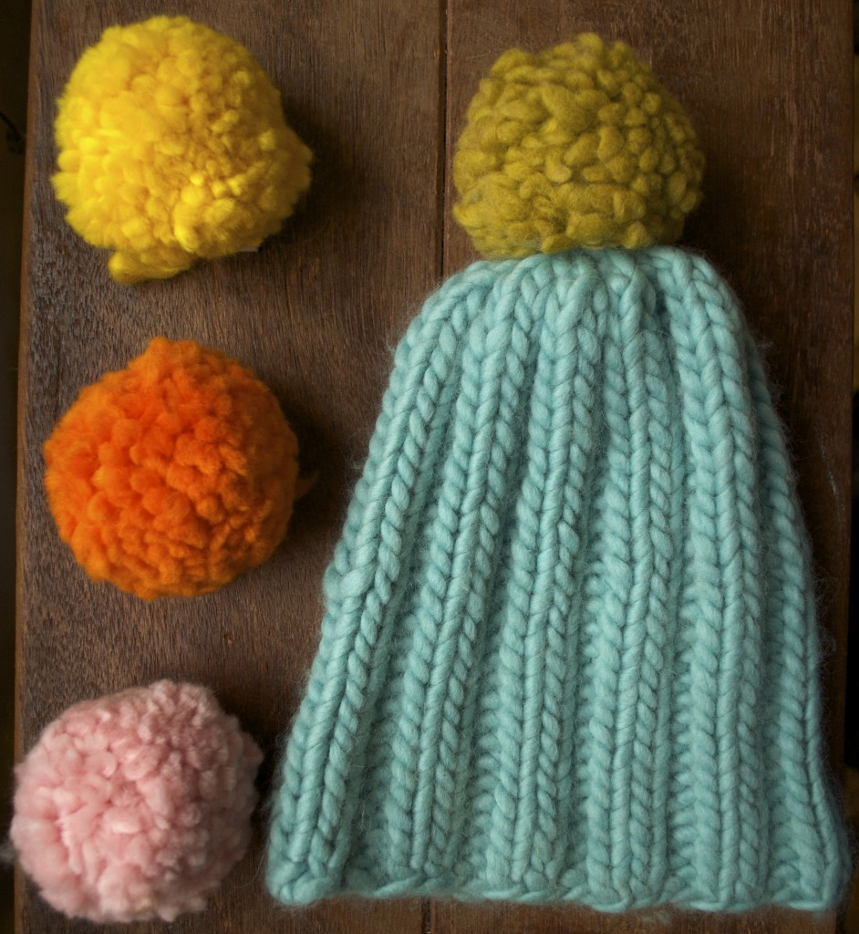 Mrs Moon Plump PomPoms, Lemon Curd, Marmalade and Fondant Fancy with Simple Bobble Hat in Bonbon and Gooseberry Fool.