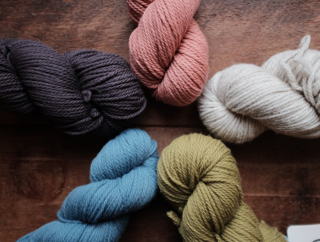 Quince and Co Osprey CW from top, Clay, Audouin, Bosc, Delft, Damson