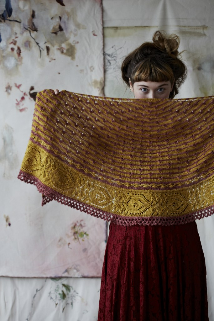 Piccadilly Shawl at Loop London. By Justyna Lorkowska for Loop. Knit with Eden Cottage Yarns Hayton