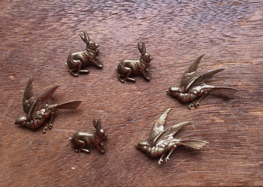 Bronze Bird and Hare Brooches, Loop London