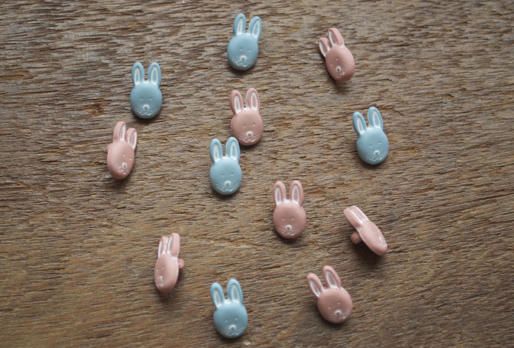 Rabbit Button, Blue and Pink.