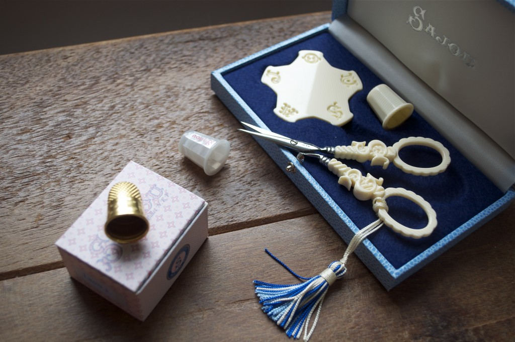 Sajou Ivory Style Sewing Set and Sajou thimbles, Gold Plate and Mother of Pearl Style
