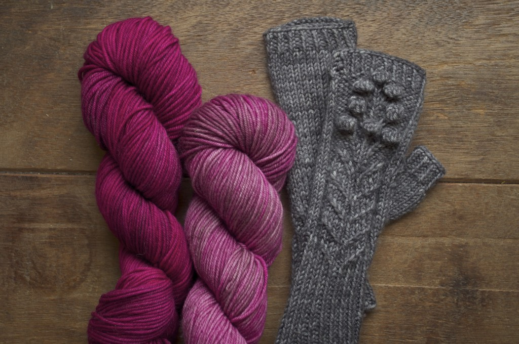 Uncommon Thread Lush Worsted in Peony and Wilted Rose and Spring Bloom Mitts.