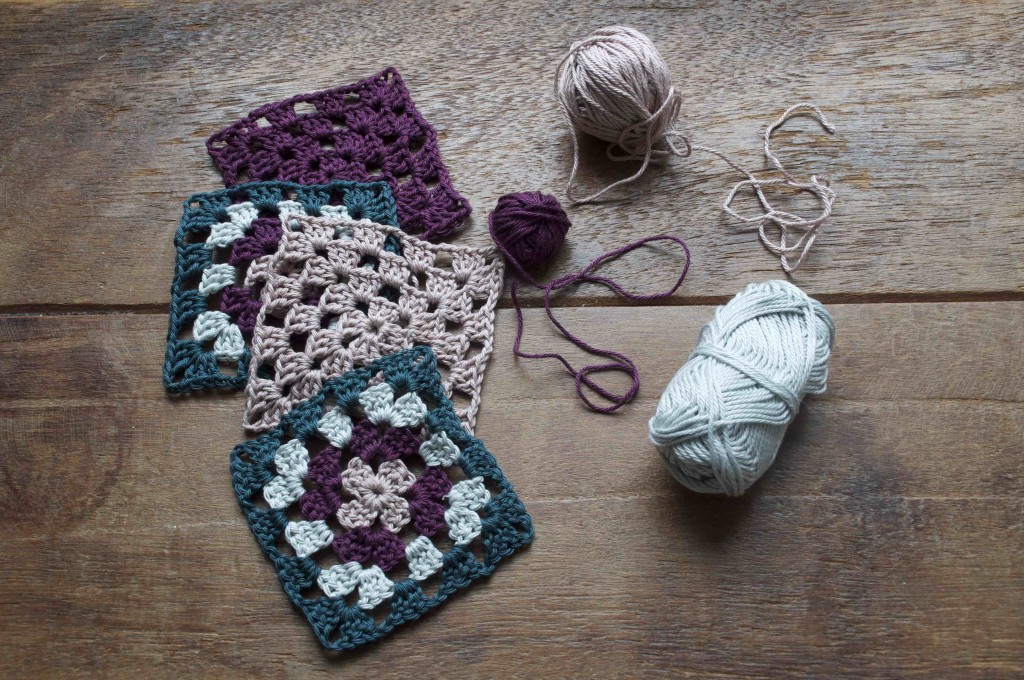 Granny Squares using Scheepjes Catona Cotton. 244 Spruce, 172 Light Silver, 394 Shadow Purple, 257 Antique Mauve.