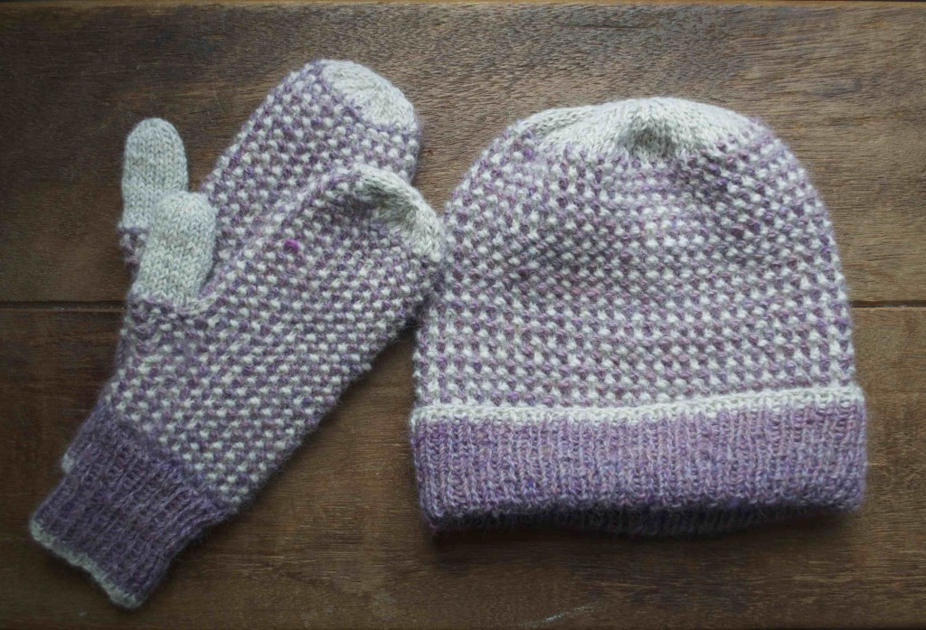 Chester Basin Hat and Mitten Set from Take Heart. Knit in the Loop Alpaca Tweed in Hydrangea Dream and Where Breezes Begin