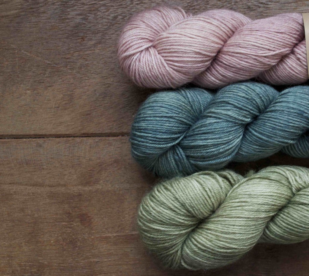 Eden Cottage Yarns Hayton (Top-Bottom) Rambeling Rose, Hyssop and Coppice. Loop, London