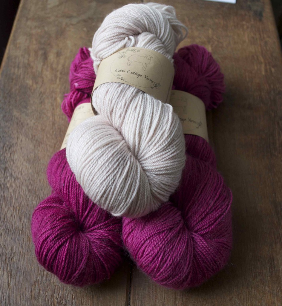 Eden Cottage Yarns Hayton. (Top- Bottom) Driftwood and Fushia