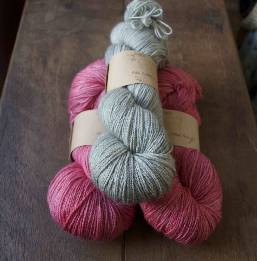 Eden Cottage Yarns Hayton. (Top- Bottom) Steel and Dianthus.
