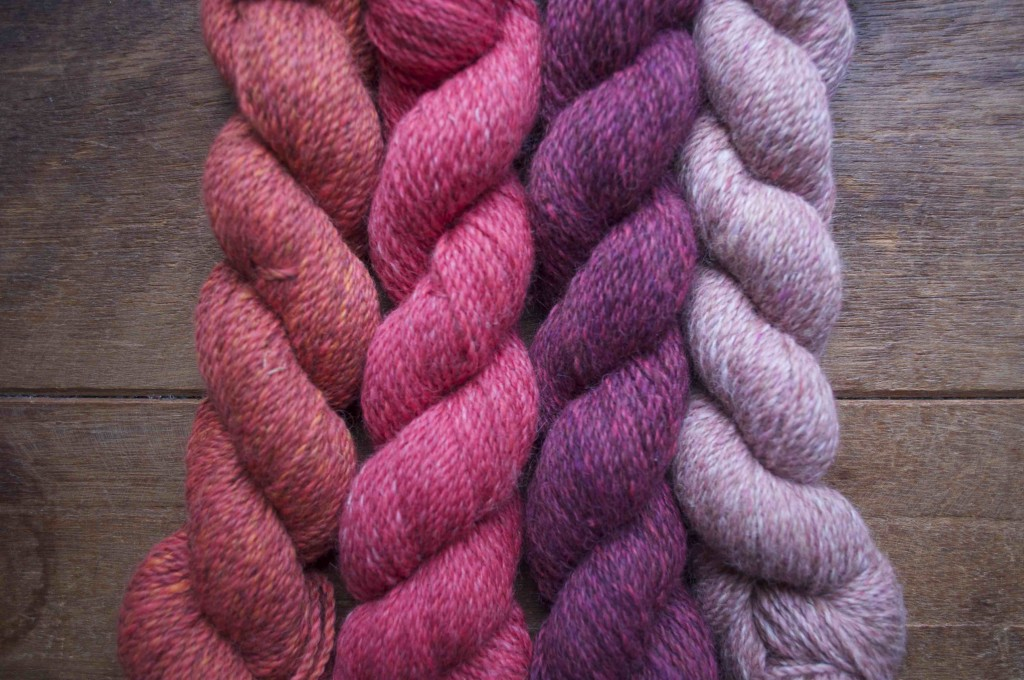 Loop Alpaca Tweed. Burnt Tangerine, Ice Lolly, Mulberry, Vintage Pink