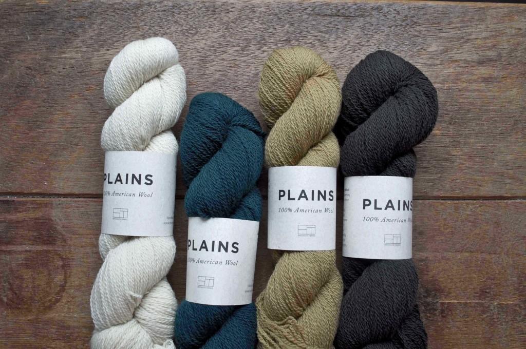 Brooklyn Tweed Plains at Loop, London. L-R Waxwing, Treehouse, Crema, Porter