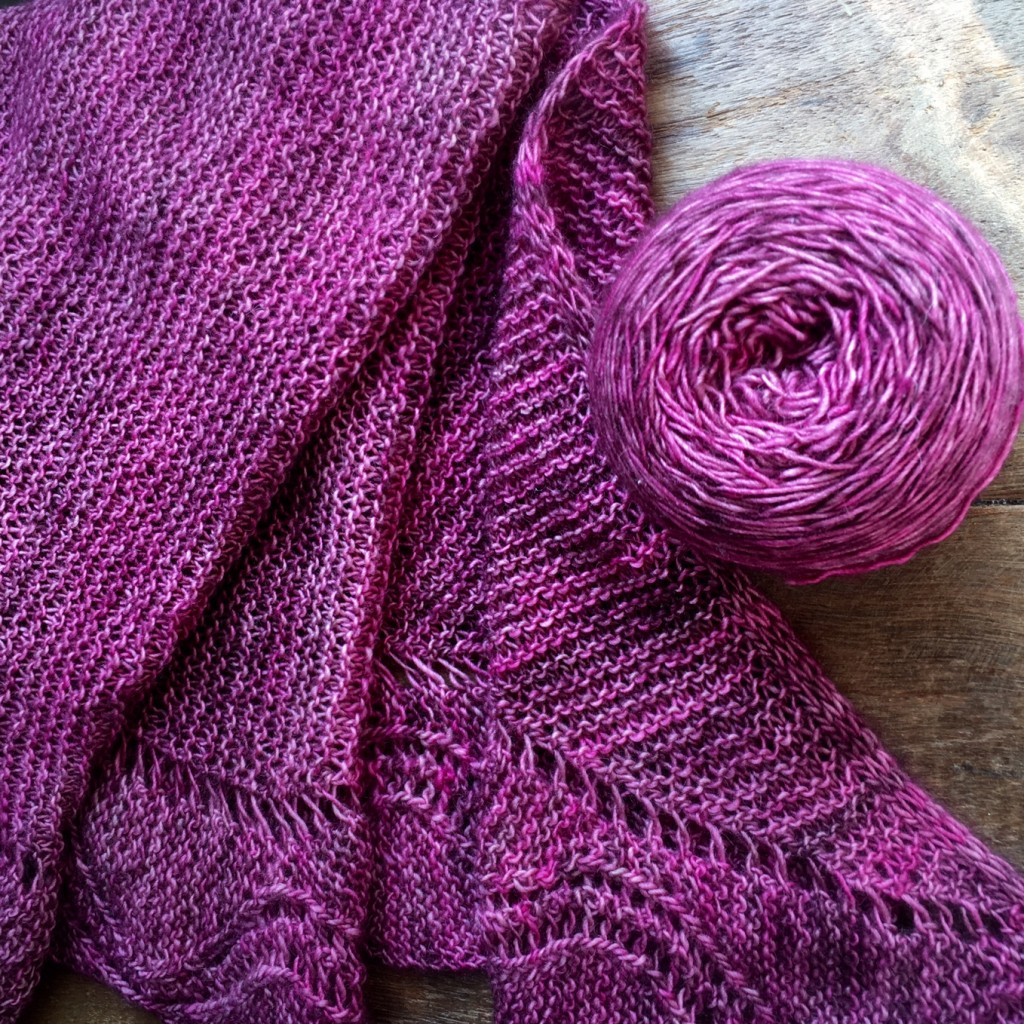 Charm Shawl by Juju Vail for Loop. Knit in The Uncommon Thread BFL Singles 'Wilted Rose'.