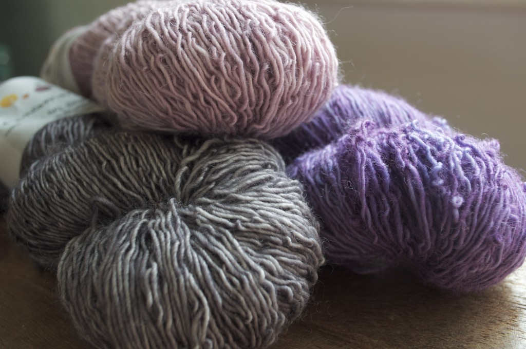 The Uncommon Thread BFL Singles (CW from top) Into Dust, Lila, Plata. Loop, London