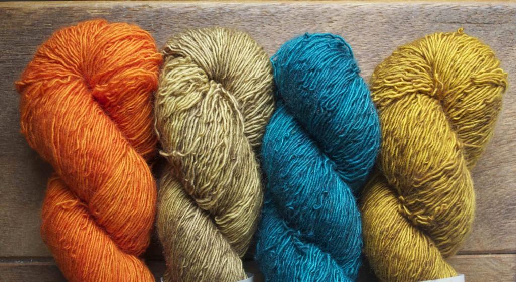 The Uncommon Thread BFL Singles. Citrus Peel, Twig, Seascape, Golden Praline