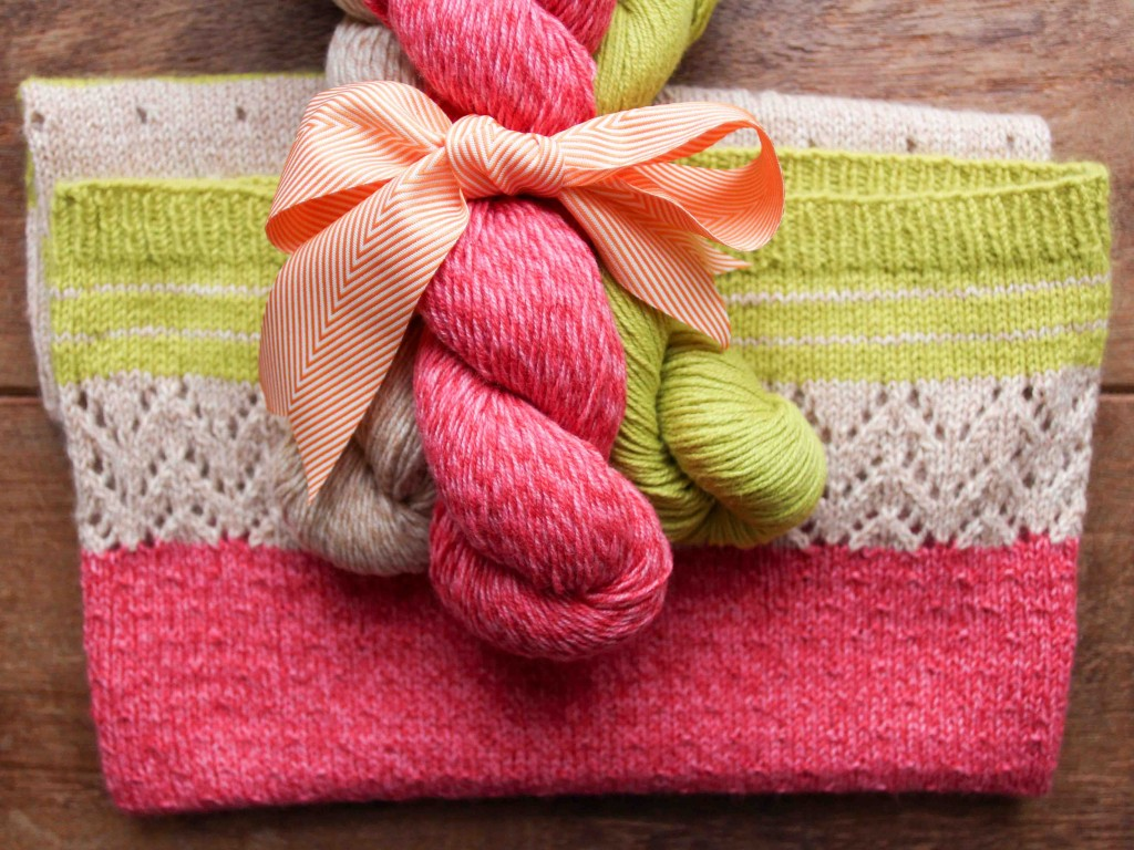 3 Colour Cashmere Cowl by Joji, in  Barn Owl, Cherry and Spring, by Lux Adorna Yarns