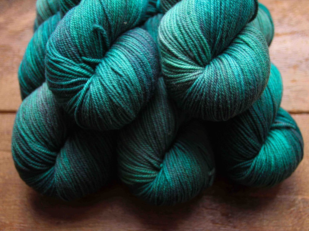 "Quince & Co Chickadee in ""String Theory"" - five hand dyed colour ways, a very limited edition! Shown here in Teal"